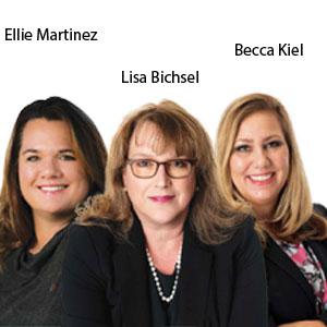 Lisa Bichsel, Founder, and CEO; Ellie Martinez, Digital Marketing and Operations Leader; Becca Kiel, Marketing Communications Leader, Bichsel Medical Marketing Group